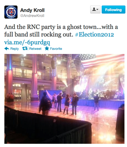Empty dance floor at the RNC HQ. Poor Andy.