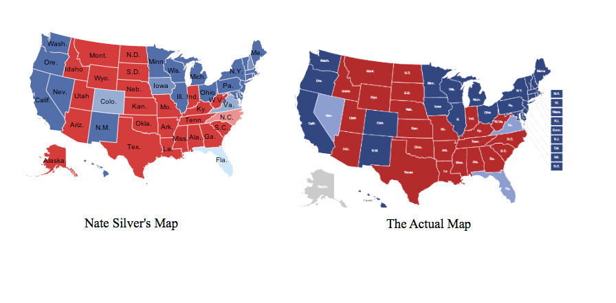 deadbrainflakes:  ilovecharts:  Nate Silver probability map vs. Actual map  And that is how one does statistics.