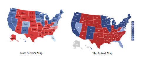 ilovecharts:  Nate Silver probability map vs. Actual map