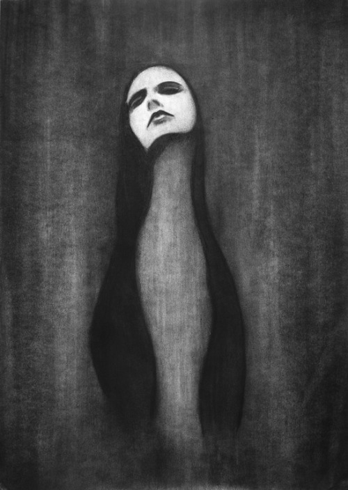 red-lipstick:  Andrew Radcliffe (UK) - Widow, 2011            Drawings: Charcoal