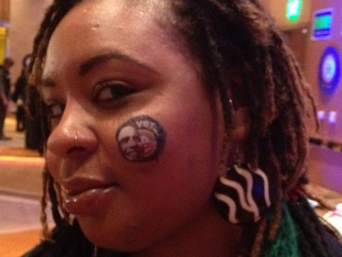 Here's one (presumably temporary) tattoo Obama supporter Krystle Collins of Michigan probably doesn't regret the next day.  This guy, on the other hand…