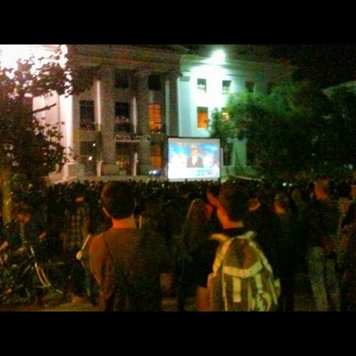 How Berkeley does politics. With a giant screen on Sproul.