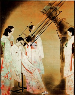 eastasianstudiestumbl:  laiika:  Women Watching Stars (1936) at the National Museum of Modern Art in Tokyo   Ota Chou Women Observing Stars (1936). Ink on paper.  This really compositionally interesting because you can see the women are in traditional kimono with the short bobbed hair. This telescope depicted here happens to be the one at the National Museum of Nature and Science. So all and all they are modern because of their hair and are learning/inquisitive science. All very modern but still reserves of the traditional because of their clothing. TALK ABOUT MIXED MESSAGING FOR THE MODERN WOMAN!!!  Though for the record most Japanese women by this time and especially after the 1924 quake would have had experiences with Western clothes and hairstyles. Fun Fact: This was made into a stamp in the 90's.