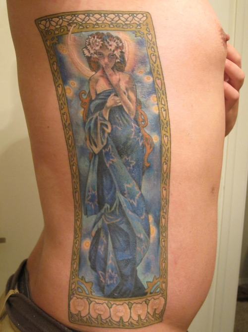 "fuckyeahtattoos:  Finally got my side piece finished. It's based on Mucha's ""Luna"" and was done by Hector Colon at Ink Inertia in Colorado Springs, CO. I'm so psyched it's done and so awesome"
