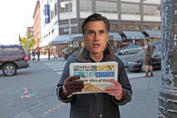 "jhpearce:  Here in Seattle, Mitt Romney still has a future selling ""Real Change.""  It's a really good paper. Only $1!"