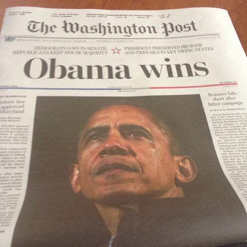 This morning's front page. Obama wins. Maryland approves same-sex marriage, the DREAM act. Kaine (D) over Allen (R) in Virginia Senate race.