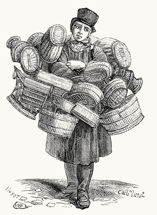 Basket seller.  After Carle Vernet, from Les rues du vieux Paris (Streets of the old Paris), by Victor Fournel, Paris, 1881.  (Source: archive.org)