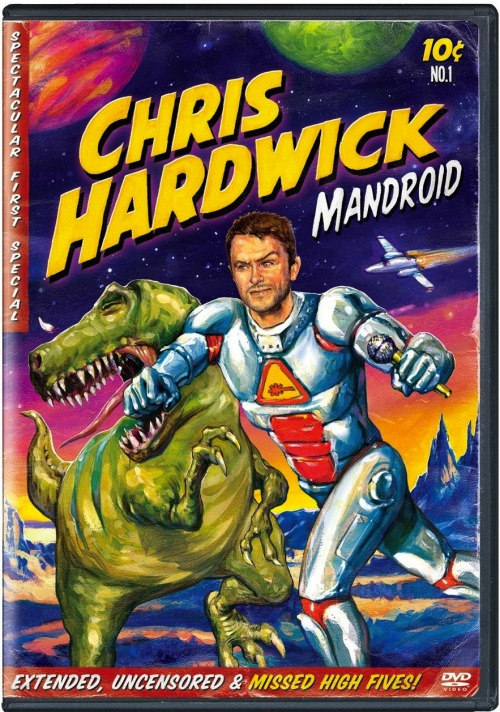 "YEEEEEEEEAAAAAAAHHHHHHH!!!!!!! The DVD cover for Chris Hardwick's first stand-up special ""Mandroid"". It airs this Saturday at 11pm on Comedy Central. (Which means it will probably air sometime in 2015 on the Comedy Network, here in Canada)"