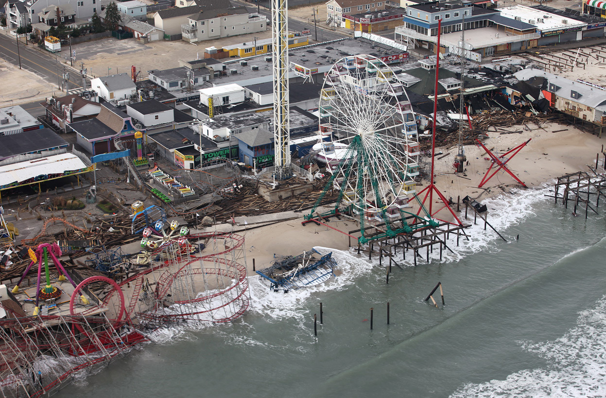 Aerial photo of storm-damaged Fun Town Pier amusement park, on the New Jersey shore. (USFWS/Greg Thompson) Source