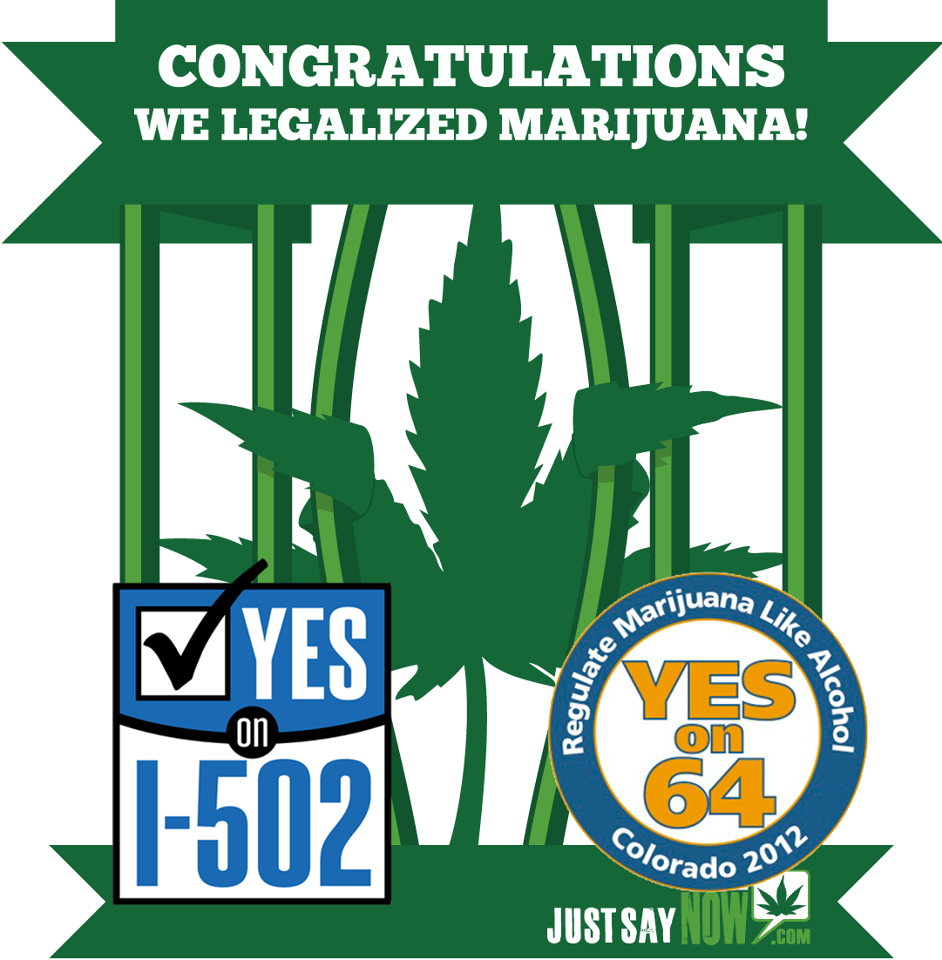mikaylahall:  fuckyeahdrugpolicy:  Colorado, Washington Legalize Marijuana | Drug War Chronicle WASHINGTON: Initiative 502 legalizes the possession of up to an ounce of marijuana by adults 21 and over, but does not allow for personal cultivation, except by or for medical marijuana patients. It will license marijuana cultivation and retail and wholesale sales, with restrictions on advertising. Regulation will be the remit of the state liquor control board, which will have to come up with rules by December 2013. The measure creates a 25% excise tax on marijuana sales, with 40% of revenues dedicated to the general fund and 60% dedicated to substance abuse prevention, research, and healthcare. It also creates a per se driving under the influence standard of 5 nanograms of THC per milliliter of blood. COLORADO: Amendment 64 allows adults 21 and over to possess up to an ounce of marijuana or six marijuana plants, three of which can be mature. It will create a system of state-licensed cultivation, manufacturing, and testing facilities and state-licensed retail stores. Local governments would have the option of regulating or prohibiting such facilities. The amendment also requires the state legislature to enact legislation governing industrial hemp cultivation, processing, and sale, and to create an excise tax on wholesale marijuana sales. The first $40 million of that annual revenue will be dedicated to building public schools. also, medical marijuana won in massachusetts  Proud to have voted for this in Washington