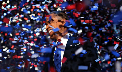 inothernews:  FOUR MORE YEARS  President Obama at campaign headquarters in Chicago early Wednesday morning.  (Photo: Doug Mills / New York Times)