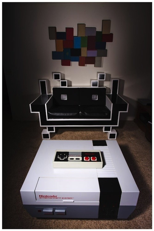 Custom Space Invader Couch & NES Coffee Table