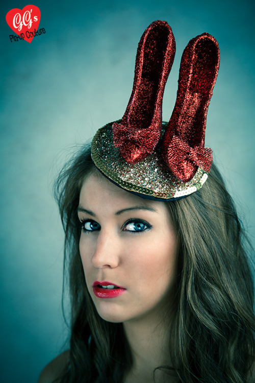 I just had to create a Wizard of Oz inspired hat - complete with ruby slippers and 'yellow' brick road. The road is made from lashings of gold glitter and sequins…