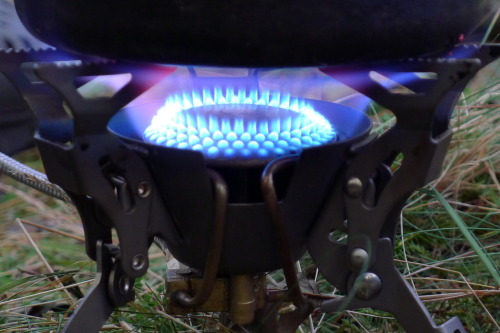 A niggle's developed with the FMS-100T; the perforated case of the burner head seems to have warped slightly, such that a small arc springs free from the retaining ring running around the circumference. If you don't press it back into place it gets worse until, finally, air starts mixing uncontrollably with the gas. The flame turns yellow, becomes irregular and starts 'burping,' a series of small flare-ups. Disappointing, but it's got five solid tracksterman months of use on it, which I guess equates to 3+ years of Trail magazine test time.Why even mention it? Because Fire Maple make their stoves in a modular fashion, using the same burner head across the range - which means the same fault could develop on any one of those Flyti, Gnat, Karrimor and Hi Gear Blaze stoves so many people are using. I'm pretty relaxed about an irregular flame when it's nine inches away from a remote valve and gas cannister. But when it's sitting right on top of them…?