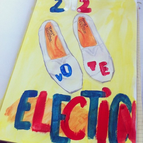 @TOMS inspired #Election #shoes. Tools: #gouache paint. #fashion #painting #quick #2012 #obama #romney #democrats #republicans #usa #america #iphoneonly #iphoneography #photoaday