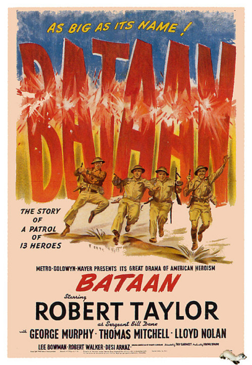 Bataan (1943) Pros: A classic propaganda war film from Hollywood, 'Bataan' is an object lesson in a movie turning defeat into a clarion call for civilians on the home front. Unlike other contemporary films (e.g. 'Objective Burma') this movie demonstrates that American military power and its soldiers aren't supermen always able to defeat the dastardly Jap…instead the main characters are flawed and fractious men with just as much internal conflict within the group as they have against their enemy. For one of the first and only times in early American war film history we see a unit of integrated soldiers (admittedly an ad hoc one) where Asians and Blacks are just as important both as characters as well as fighting men in the movie's action. In this way it sets a precedent (admittedly a rudimentary one) for later Vietnam War films such as 'Hamburger Hill' and 'Platoon'. 'Bataan' also perpetuates the set-up of a group of people brought together under duress, and slowly but surely they are eliminated one by one. It could be said this is a revisit of the Agatha Christie whodunnits in a war film, and 'Bataan' certainly has echoes for anyone who has seen the likes of 'Aliens', 'The Hills Have Eyes 2', 'Event Horizon' etc. The cast is extremely solid, filled with recognizable stars and character actors from the forties (Robert Taylor as leading man, but also with such scions of the studio era such as George Murphy, Robert Walker, Thomas Mitchell, Lloyd Nolan). Cons A propaganda film from the forties will have a hard time reaching an audience from the current era, where cynicism and more brutal war films have made the likes of 'Bataan' and later efforts (e.g. 'The Sands of Iwo Jima') almost redundant. In a post-modern world where war heroes almost always have as much cultural integrity as the politicians who send them to fight no one can ever conceive and film a movie like 'Bataan' and expect it to be popular. The historical veracity of the film is tenuous at best, and it fails to do what more modern war movies do when it comes to a defeat (i.e. a self-examination of the reasons why such an event came to pass). Yes, this is a small scale film that was for the home front; however contrasted to a much later movie such as 'Zulu Dawn', in 'Bataan' the man who was behind so much of the failed effort is let off scot-free (i.e. Macarthur). Truth and historical awareness is given short shrift. Final Rating  2 out of 5 Bill Collins
