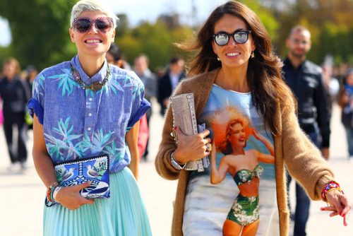 vogue-etc:  Colorful street style here!