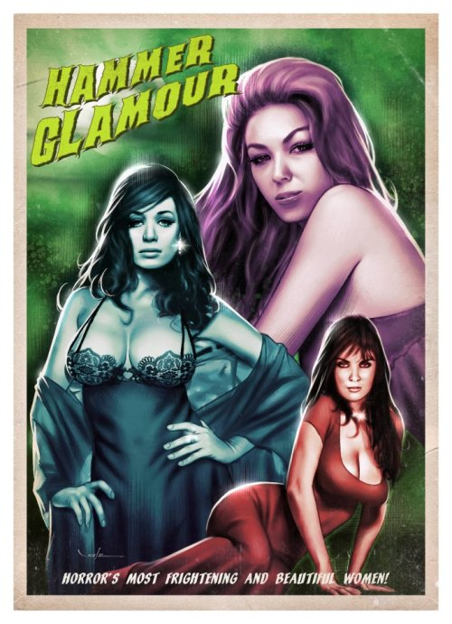 Hammer Horror Ladies Day. Carlos Valenzuela's tribute to three Hammer actresses. A2 Giclee edition of 50. Autographed prints available to preorder at www.underthefloorboards.com