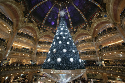 Swarovski Christmas Tree at Galeries Lafayette, Paris, France by Etienne Laurent