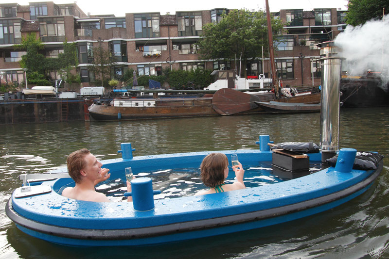 The first wood-fired hot tub boat in the world!