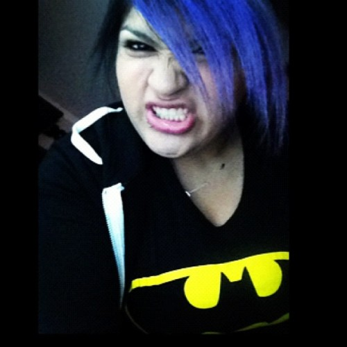 Say #CHEESE #purplehair don't care #batman #morning #ayyye