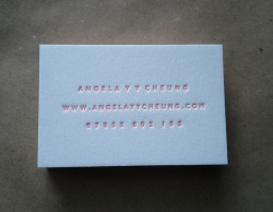 Letterpress business card for artist Angela YY Cheung, designed and printed by www.mapletea.co.uk. Made using metal type, printed on a hand-fed letterpress printing press. Made in Brixton.