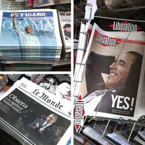jacobsoboroff:  Obama splashes the French papers. via @lauren_hou