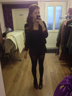 What I wore today Topshop hearts playsuit, thigh high socks, Topshop black blazer, tescos arm warmers, h&m burgundy crop top, vintage black leather boots, burgundy lipstick