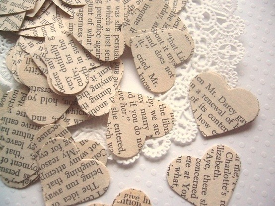 love hearts (:) made from favorite books :)