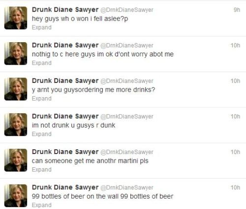 In A National Election @DrnkDianeSawyer Would Probably Beat Sober Diane Sawyer