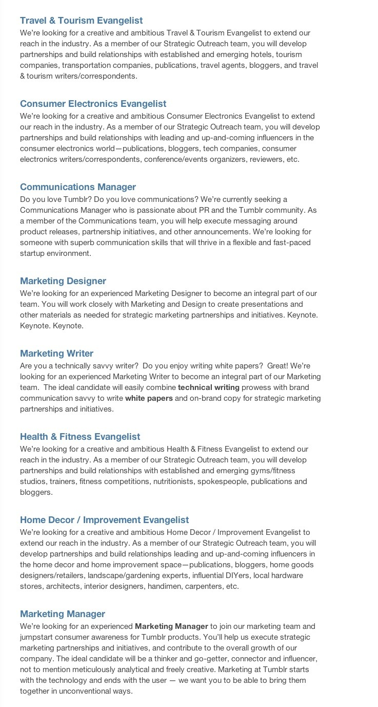 Whole boatload of job openings in Tumblr's Outreach and marketing departments! Come join us!