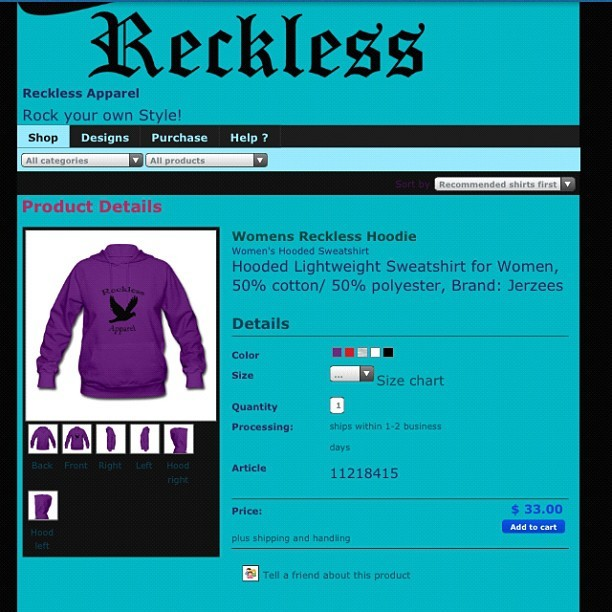 Everything at http://recklessapparel.spreadshirt.com is in sale. Winters coming so if you wanted to get a hoodie cheaper, nows your chance. Share with everyone you know. #share #friends #sale #colorful #awesome #heart #instagram #instamessage #dreamer #love #work #warm #follow #art #truthbetold #shop #photography #pretty #me #nofilter #nothingpersonal #nowplaying #cool
