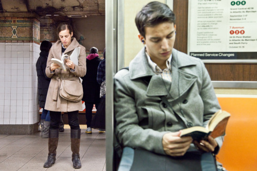 "on the left she's reading ""Number9Dream,"" by David Mitchell. on the right he's reading ""Oliver Twist,"" by Charles Dickens.  Number9Dream: Borrow I Read Oliver Twist: Borrow I Read"