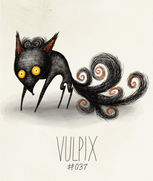 hatboy:  Vulpix #037 Part of The Tim Burton x PKMN Project By Vaughn Pinpin  EDIT: Some peeps pointed out two tails were missing. Completely slipped my mind. Sorry. Fixed it now though. :)