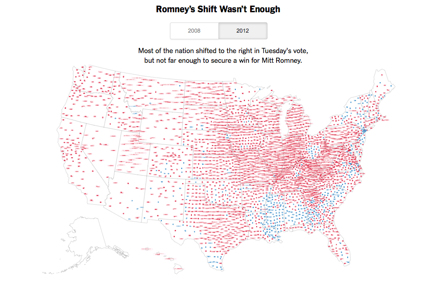 How Obama Won Re-election  Most of the nation shifted to the right in Tuesday's vote, but not far enough to secure a win for Mitt Romney.