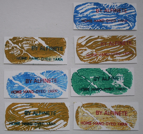 what a cool label idea! skein/hank stamps!