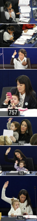 parenting:  Licia Ronzulli, a Member of the European Parliament, brings her baby to work every day. And we think that's awesome. (Found by Jaclyn, our photo editor)