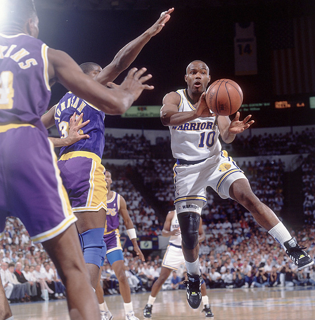 Tim Hardaway makes a pass during a 1991 Warriors-Lakers playoff game. (Peter Read Miller/SI) SI VAULT: Hardaway an unlikely star for Warriors (2.11.91)