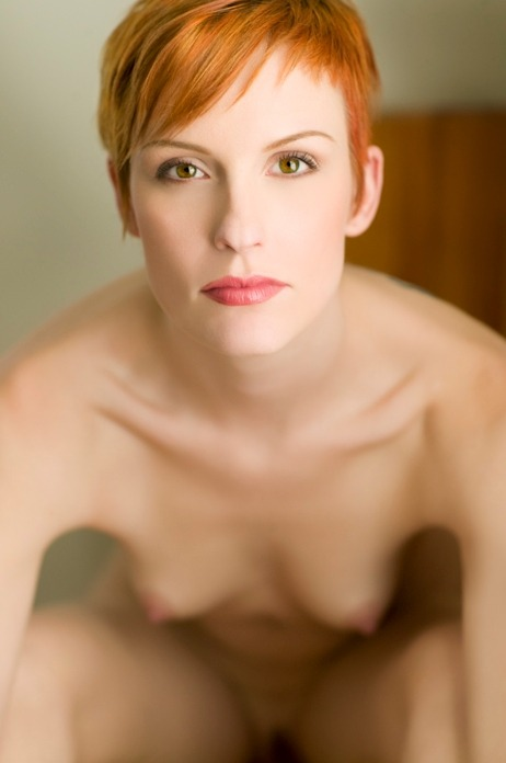 Hot naked short-haired redhead humps
