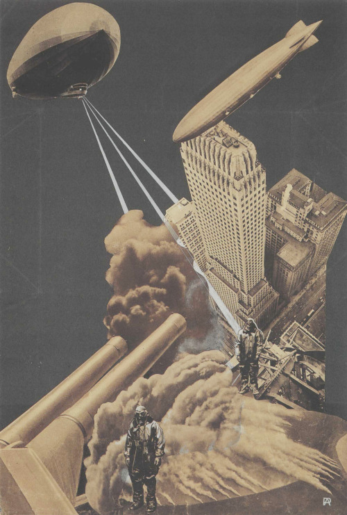 ephemeral-and-fleeting:  regardintemporel:   Aleksander Rodchenko - War of the Future, 1930     The Charnel House: Aleksandr Rodchenko's grim sci-fi vision of the War of the Future (1930) illustrates the extent to which the terror of chemical warfare and advanced implements of destruction haunted the Soviet and European imagination of conflict following World War I and the Russian Civil War.  Death-rays and dirigibles.  Howitzers and skyscrapers.  Chiaroscuro gas-masks.