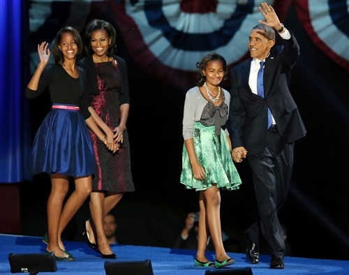 "nbcnews:  Sasha and Malia Obama grow up before our eyes (Photo: Scott Olson / Getty Images) In his victory speech on election night, Obama spoke to his daughters, saying, ""Sasha and Malia, before our very eyes you're growing up to become two strong, smart, beautiful young women, just like your mom. And I'm so proud of you guys."" They really have grown up. Compare photos of the girls at the 2008 victory speech to now— what a difference four years makes! Read the complete story."