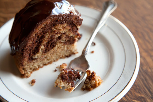 brown butter hazelnut marble cake click here for recipe