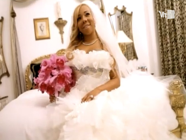 Take a look at Tiny on her wedding day to husband T.I. in this clip from his Behind The Music episode. Beautiful!
