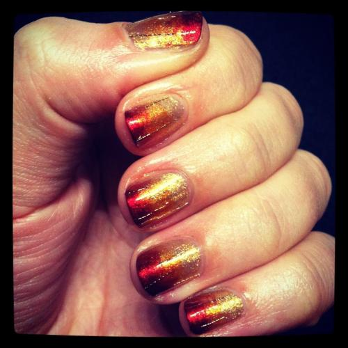 Fall on Fire! Check out my column this week at MakeUp.com for a tutorial to create a seasonal ombre that'll warm up your fingertips . Also, I'm obsessed with gold thread!