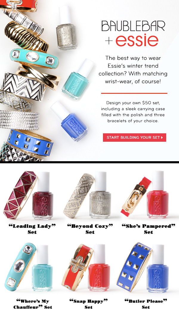 tallgirltales:  The Essie x BaubleBar collection combines 2 things I love: nail polish & bracelets. Click through to check it out!