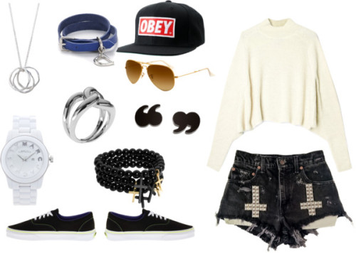 Untitled #142 by miau123 featuring leather jewelryAcne jumper sweater / Vans  / Marc by Marc Jacobs plastic watch, $335 / Cornelia Webb brass jewelry / Michael Kors  jewelry / Lauren Ralph Lauren leather jewelry / Post earrings, $38 / Pieces bracelets bangle, $8.79 / Ray-Ban ray ban optical / Obey embroidered hat