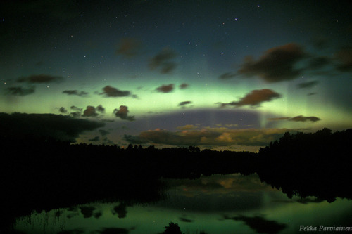 ikenbot:  Magical night  The elegant northern lights (Aurora Borealis) above Finland. — Pekka Parviainen.