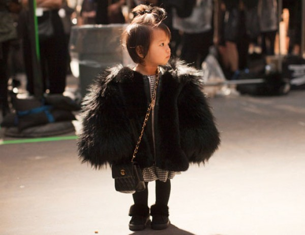 robandmariel:  FASHION FOCUS: Aila Wang Alexander Wang's niece, at 3 years old and less than three feet high, has better street style that most adults. Snakeskin, all black, faux fur, leather, tiny Chanel bag to match. Mini style icon in the making, this one. #RandM approved.
