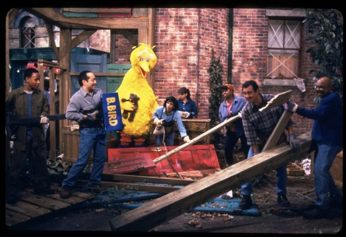 nationaljournal:  sesamestreet:  On Friday, we'll be airing a very special episode of Sesame Street. A hurricane has swept through Sesame Street and everyone is working together to clean up the neighborhood. When Big Bird checks on his home, he is heartbroken to find that the storm has destroyed his nest. Big Bird's friends and neighbors gather to show their support and let him know they can fix his home, but it will take time. While everyone on Sesame Street spends the next few days cleaning up and making repairs, Big Bird still has moments where he is sad, angry, and confused. His friends help him cope with his emotions by talking about what happened, drawing pictures together, and giving him lots of hugs. They also comfort Big Bird by offering him temporary places he can eat, sleep, and play. Big Bird remembers all the good times he had at his nest and realizes that once it is rebuilt, there are more good times and memories to come. Finally the day has come where most of the repairs to Big Bird's home are done and his nest is complete. As he is about to try it out, though, the city nest inspector says it not safe, yet, because the mud isn't dry. Big Bird is sad that he has to wait another day, but Snuffy comes to the rescue and blows the nest dry and he passes the test! Big Bird thanks everyone for being his friend and helping to rebuild his nest and his home. Please check your local listings to see what time the episode will air on PBS.  Sesame Street helps even adult viewers deal with tough situations, such as Hurricane Sandy. -BdM  On Friday, Big Bird will have his own climate story to share — as his friends and neighbors help him deal with the loss of his home due to a hurricane.