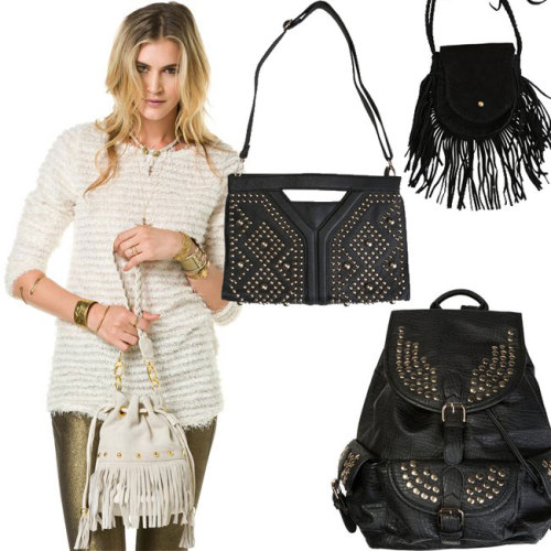 Fringed and Studded: New Fall BagsBring some city to the shore with sprinkling of heavy hardware. Nailheads, pyramid studs and gilded chain edge-out vegan leather bags, while fringed piecing brings together the vintage rock-inspired style. Pair with Fall's soft knits and chiffons for a classic contrast.   Shop the Trend: Fringe Bags & Studded Bags